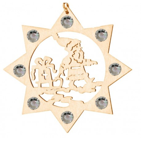the Santa with Swarovski Crystal - Dolfi Wooden Christmas Decorations - Made in Italy