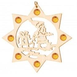 Weihnachtsmann mit Swarovski Kristalle, Dolfi Christbaumschmuck aus Holz, Grödner Holzschnitzereien