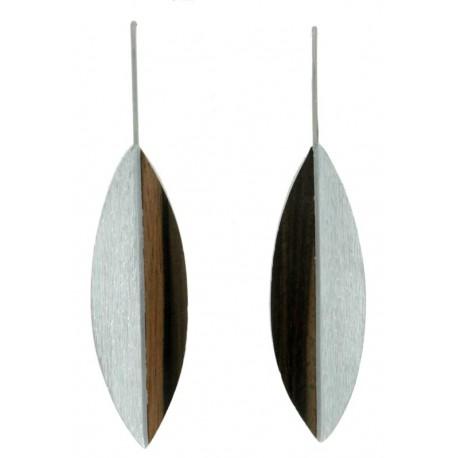 Ohrringe aus Holz aus Nussbaum-Holz