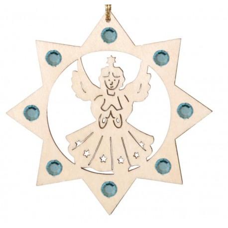 Angel with Swarovski Crystals, custom laser cut wood ornaments