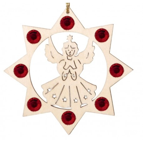 Angel with Swarovski Crystal - Dolfi Wooden Tree Decorations - Made in Italy