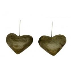 Herz Ohrringe in Nussbaumholz