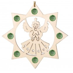 Angel with Swarovski Crystal - Dolfi wood Christmas Craft - Made in Italy