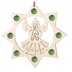 Engel mit Kristallen Holz-Laser-Dekoration