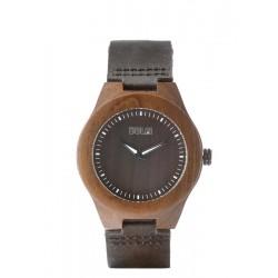 """Armbanduhr aus dunklem Nussholz mit Lederarmband """"Wolf"""""""