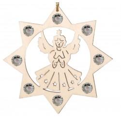 Addobbo a laser con angelo e Swarovski, decorazioni natalizie legno fai da te, Selva Val Gardena