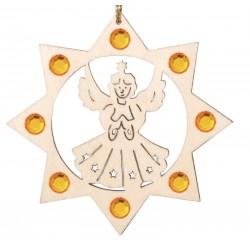 Addobbo a laser con angelo e Swarovski, decorazioni natalizie in legno da appendere, Val Gardena