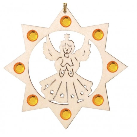 Angel with Swarovski Crystal - Dolfi Wooden Christmas Tree Ornaments - Made in Italy