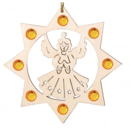 Engel mit Swarovski Kristalle, Dolfi Holz Weihnachtsschmuck, diese Kreation ist in Gröden produziert