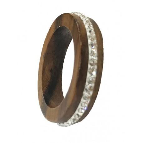 Nussbaumholz-Ring mit Swarovski