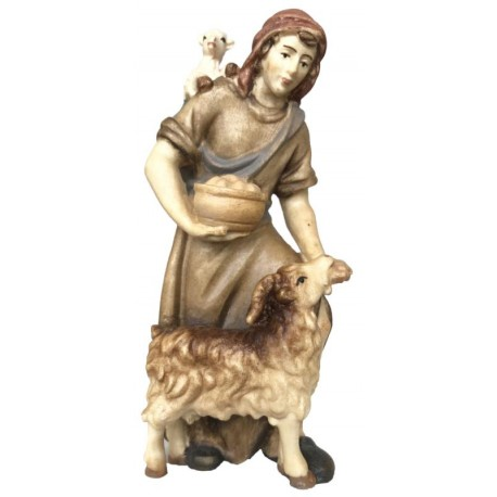 Shepherd with Goat in wood - stained 3 col.