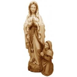 Madonna di Lourdes con Bernardette scolpita in legno