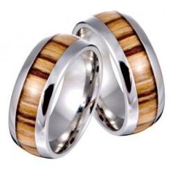 Anello unisex in acciaio e legno d'ulivo