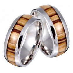 Unisex ring in steel and olive wood