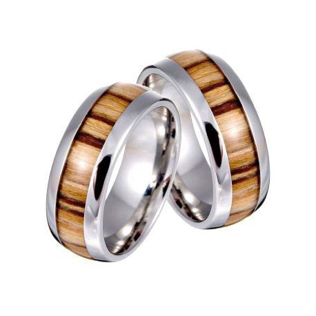 Unisex Ring in Stahl und Olivenholz