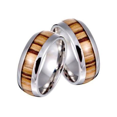 Unisex Ring in Stahl und Olivenholzin