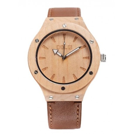 Wooden clock with eco-leather strap