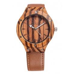 Orologio realizzato in legno d'ulivo con cinturino in ecopelle