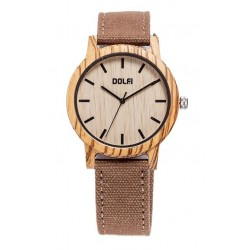 Wooden Watch with Brown Textile Strap Unisex – Aras - Dolfi Waterproof wood Watch - Made in Italy
