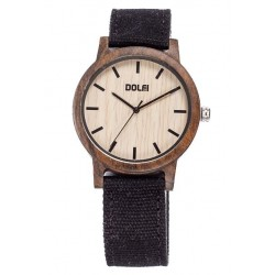 Wooden Watch with Black Textile Strap Unisex – Amos - Dolfi Luxury wood Watches - Made in Italy