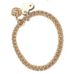 Braccialetto elastico color oro con charms in legno d'acero