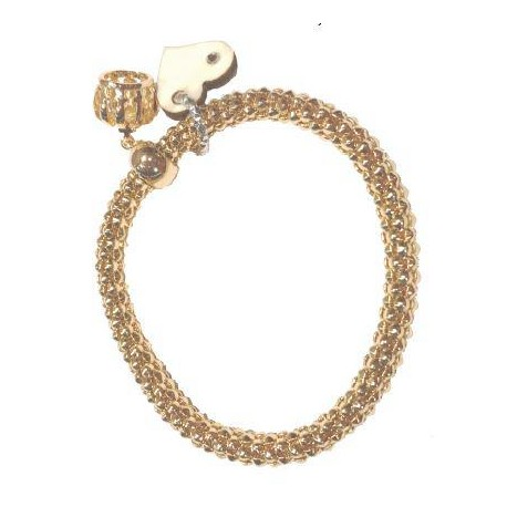Gold Bracelet with wood Charms