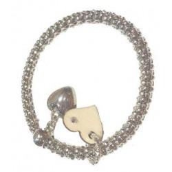 Braccialetto elastico color argento con charms in legno d'acero