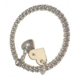 Silver color bracelet with wood charms