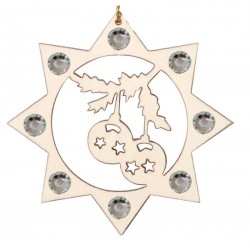 the Christmas Balls with Swarovski Crystal - Dolfi wood Burned Ornaments - Made in Italy