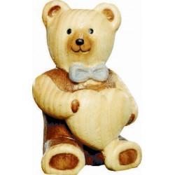 Tenero orsacchiotto in blu con cuore scolpito in legno