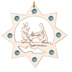 the Holy Family with Swarovski Crystal - Dolfi Wooden Ornament - Made in Italy