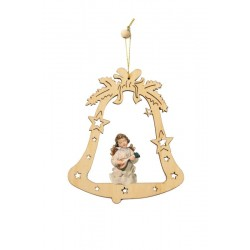 Bell with angel - laser cut wood ornament - color