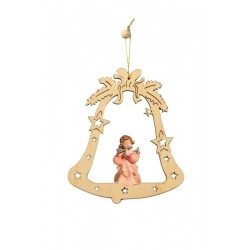 Bell with Angel - Christmas Tree Decorations - Lasered Decoration - Dolfi wood Burned Ornaments - oil colors