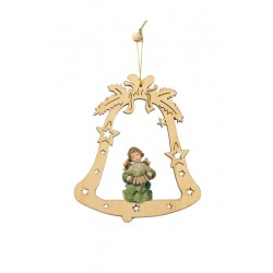 Bell with Angel- Christmas Tree Laser Cut Decorations - Dolfi wood Turned Ornaments - Made in Italy - oil colors