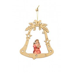 Bell with Angel - Christmas Tree Decorations - Lasered Decoration wood Burning Christmas Ornaments - oil colors