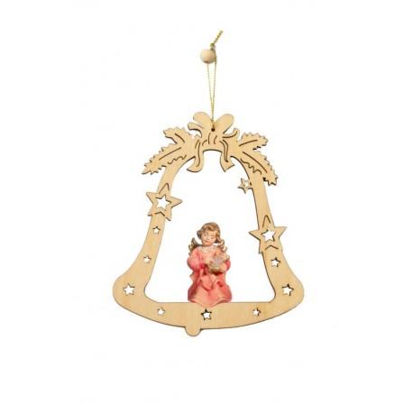 Glocke mit Engel | Dolfi basteln Weihnachten Holz, diese Holzfigur ist eine edle Grödner Schnitzerei - Ölfarben lasiert