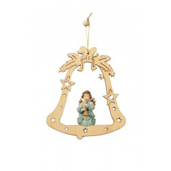 Bell with angel - laser cut wood decoration - color