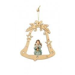 Weihnachtsbaumschmuck Glocke mit Engelchen - lasiert
