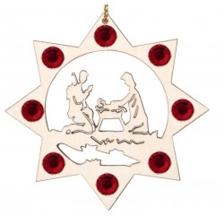 the Holy Family with Swarovski Crystal - Dolfi wood Slice Christmas Ornaments - Made in Italy