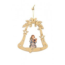 Bell with Angel - Christmas Tree Decorations - Lasered Decoration - Dolfi Woodturning Christmas Tree - oil colors