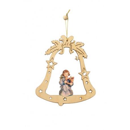 Glocke mit Holz-Engel - lasiert