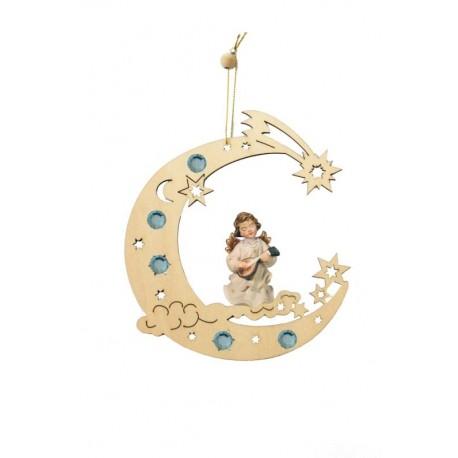 Decorazione con angelo scolpito in legno - Dolfi oggetti legno personalizzati, Val Gardena - colori ad olio