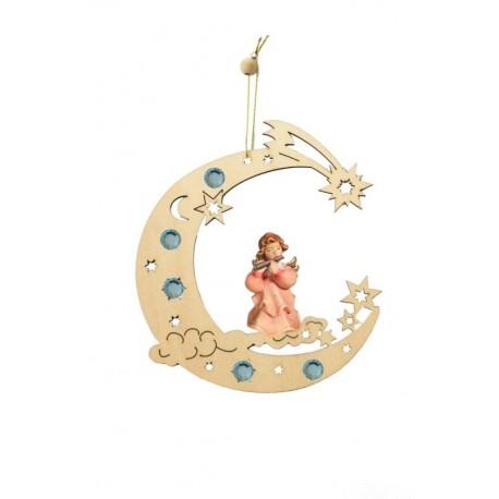 Decorazioni traforate con angelo scolpito in legno - Dolfi regali, Ortisei - colori ad olio