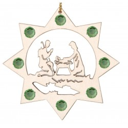 the Holy Family with Swarovski Crystal - Dolfi Wooden Ornaments - Made in Italy