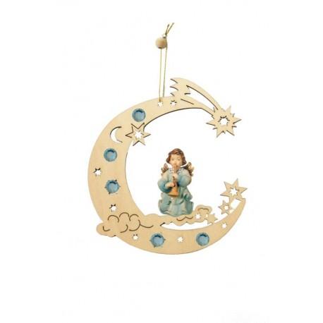 Decorazioni traforate con angelo scolpito in legno - Dolfi regali natale, Val Gardena - colori ad olio