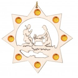 the Holy Family with Swarovski Crystal - Dolfi Wooden Christmas Decorations - Made in Italy