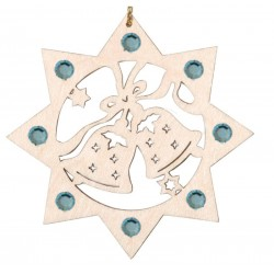 Two Bells with Swarovski Crystal - Dolfi Wooden Snowflake Ornament - Made in Italy