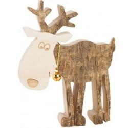 Rentier mit Holz Glöckchen 11 cm