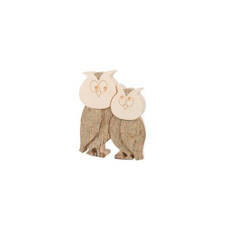 Owl Couple in wood 4 inches