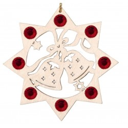 Two Bells with Swarovski Crystal - Dolfi wood Turned Ornaments - Made in Italy